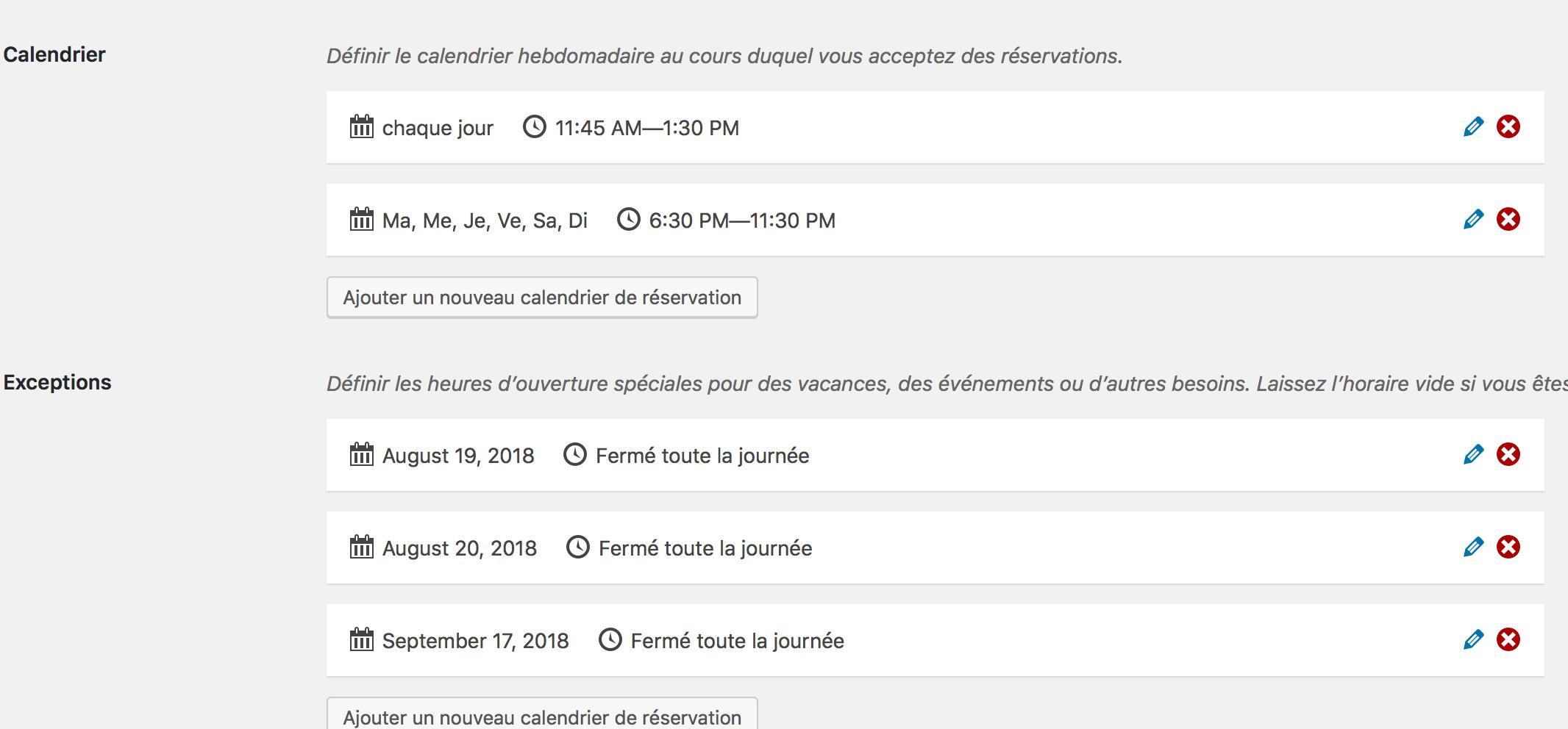 Paramétrage des horaires d'ouverture