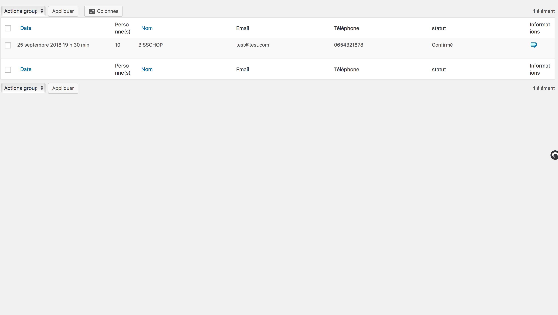 Liste de vos réservations par jour