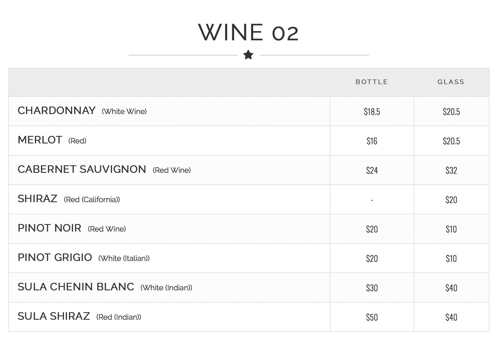 Carte des vins avec prix au verre et à la bouteille